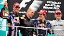 Podium Malaysia 2010 Mark Webber, Adrian Newey, Sebastian Vettel| and Nico Rosberg