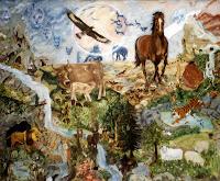 'Die Erschaffung der Tiere', Die Schöpfung 5.Tag, nach der Musik von Haydn, Öl auf Leinwand, 120x100, 1998