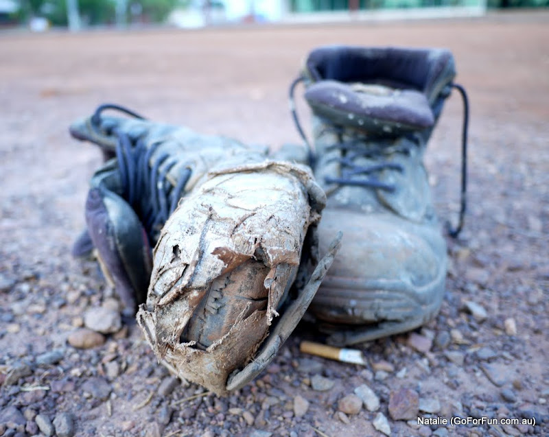 Travel boots, as I found them at the bus stop in Darwin, Australia - When I retire I will drive a caravan. Will I? - Go For Fun - Australian Travel and Activity Community - Inspire, Share, Enjoy!
