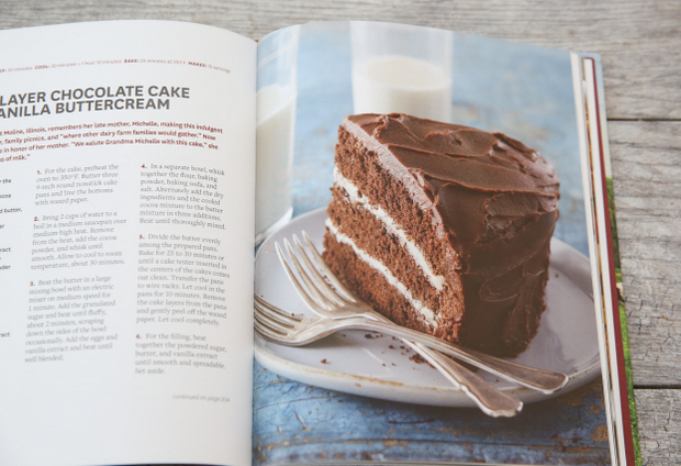 photo of the chocolate layer cake in the cookbook