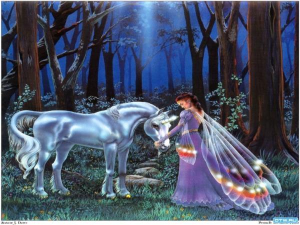 Fairy And White Horse, Fairies Girls