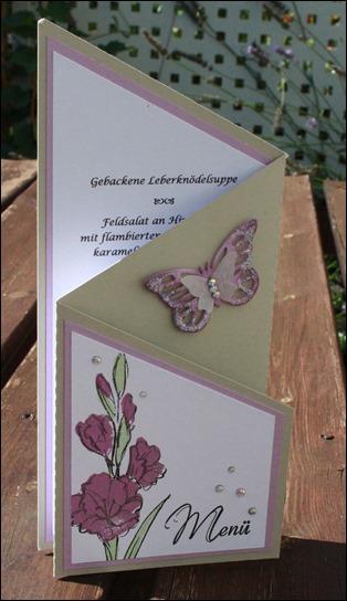 Dekoideen Dinnerparty Tischdeko Menükarte Stampin Up Schmetterling 05