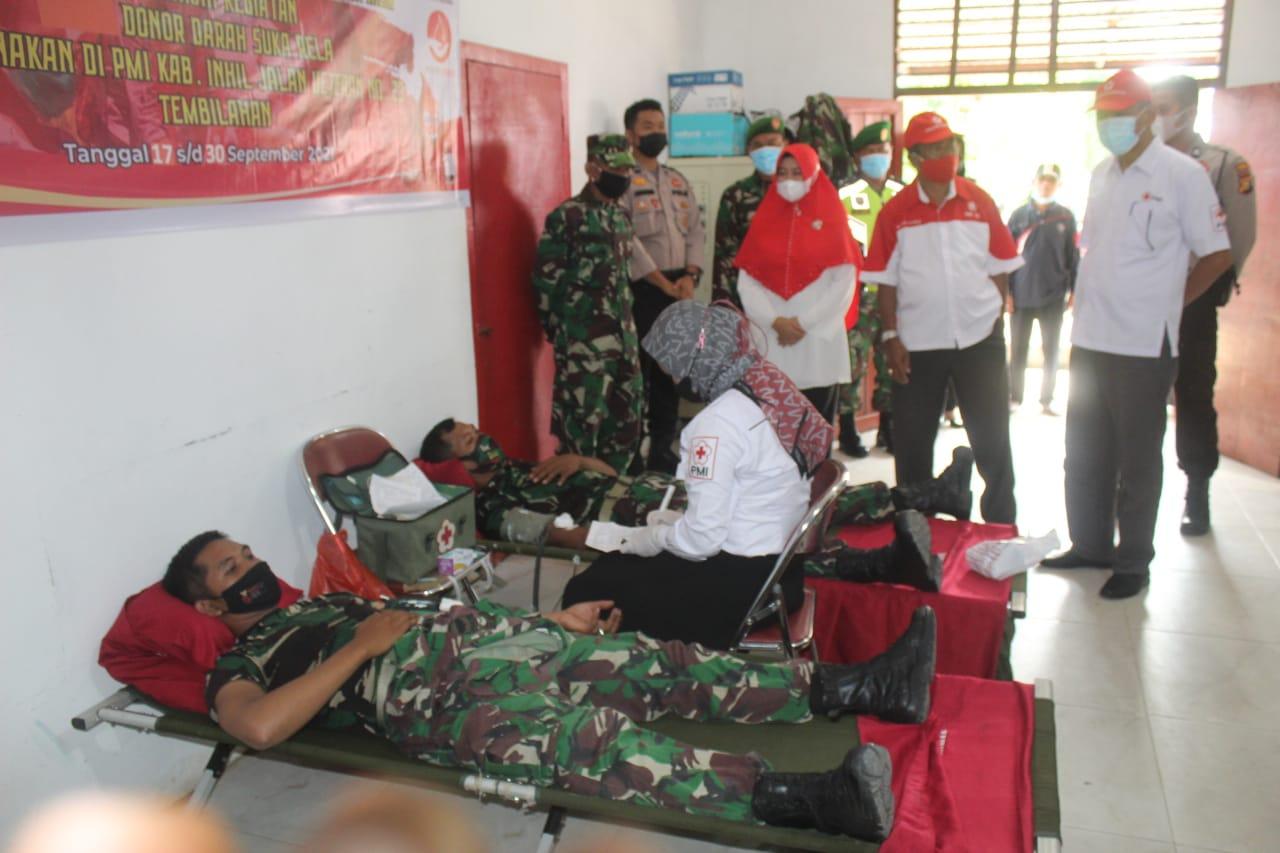 Peringatan HUT Ke-76 TNI, Kodim 0314 Inhil Taja Baksos Donor Darah