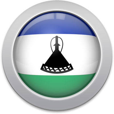 Basotho flag icon with a silver frame