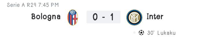 Romelu Lukaku first half goal was enough for Intel Milan in their Serie A win against Bologna