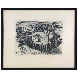 Nahum Tschacbasov Signed 'Flying Fish' Etching