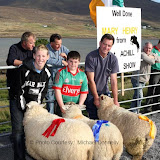 Winner of  Best Crossbred Ewe Lamb (Open) at the 21st Achill Sheep Show (Taispeántas Caorach Acla 2007) at Pattens Bar, Derreens Achill was Padraic Ryder Kilbride Newport; 2nd Lee and Sean Mooney Dooagh; and 3rd John Dyra, Newport. Photo: © Michael Donnelly