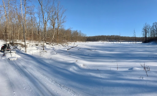 Island lake trail, west side of south Twin Lake. Deep snow covering the marsh
