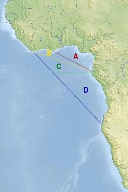 Le golfe de Guinée, différentes façons de le définir: * A le golfe intérieur, * AB le golfe de l'OHI, * ABC le golfe le plus courant, * ABCD le golfe de la Commission.