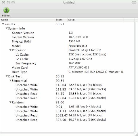 PowerBookG4 SSD換装後ベンチマーク