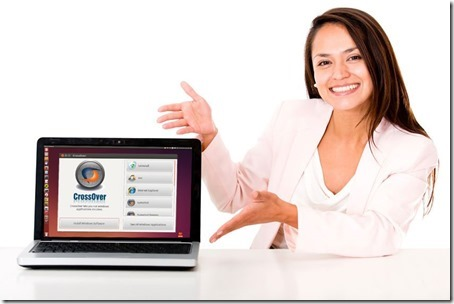 business-woman-showing-crossover-linux-welcome-screen
