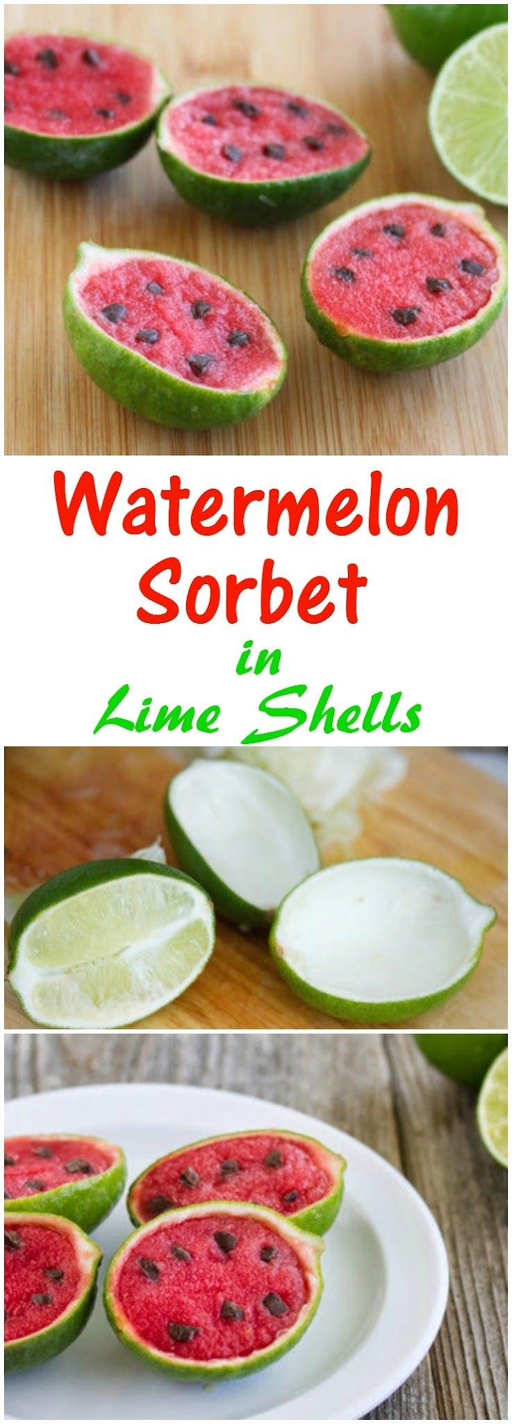 photo collage of Watermelon Sorbet in Lime Shells