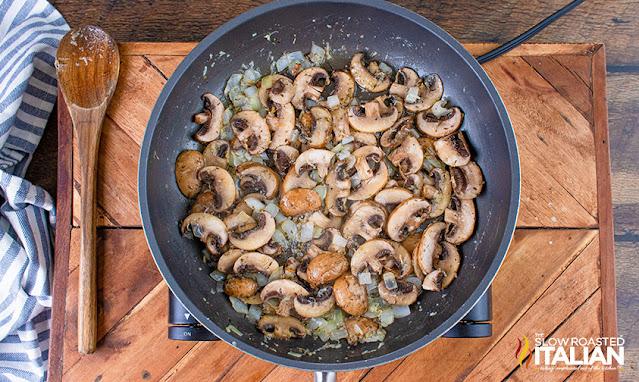 turkey tetrazzini veggies in a pan