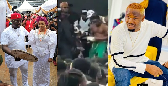 Moment Zubby Michael Sprayed Bundles Of Naira Notes On Guests At The Funeral Of Obi Cubana's Mum (VIDEO)