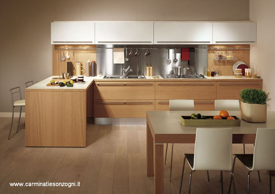 Cucine snaidero bergamo carminati e sonzogni - Cucina bianca e legno naturale ...