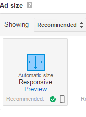 select responsive Ad size