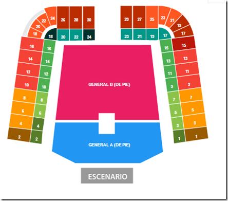Foro Sol Mapa de boletos Mexico concierto