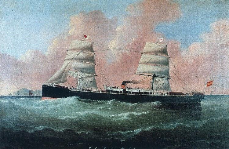Vapor VICTORIA. Óleo pintado en 1879 por WILLIAM HOWARD YORKE, conocido retratista de barcos asentado en Liverpool. Óleo sobre lienzo de 63,5 por 97 cm. Nº de Inventario 727 que se encuentra en el UNTZI MUSEOA.JPG