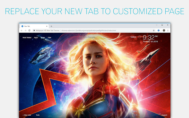 Captain Marvel Wallpaper Hd Custom New Tab