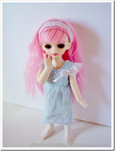 Cute blue dress with lace for a ball jointed doll.