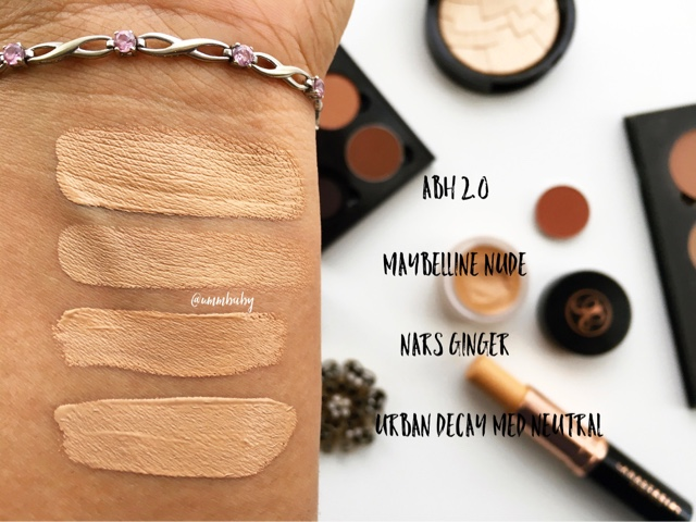 anastasia beverly hills concealer 2.0 NC40 swatches, nars radiant creamy concealer ginger swatch nc40, maybelline the eraser eye nude nc40 swatch, urban decay naked concealer medium neutral nc40 swatches