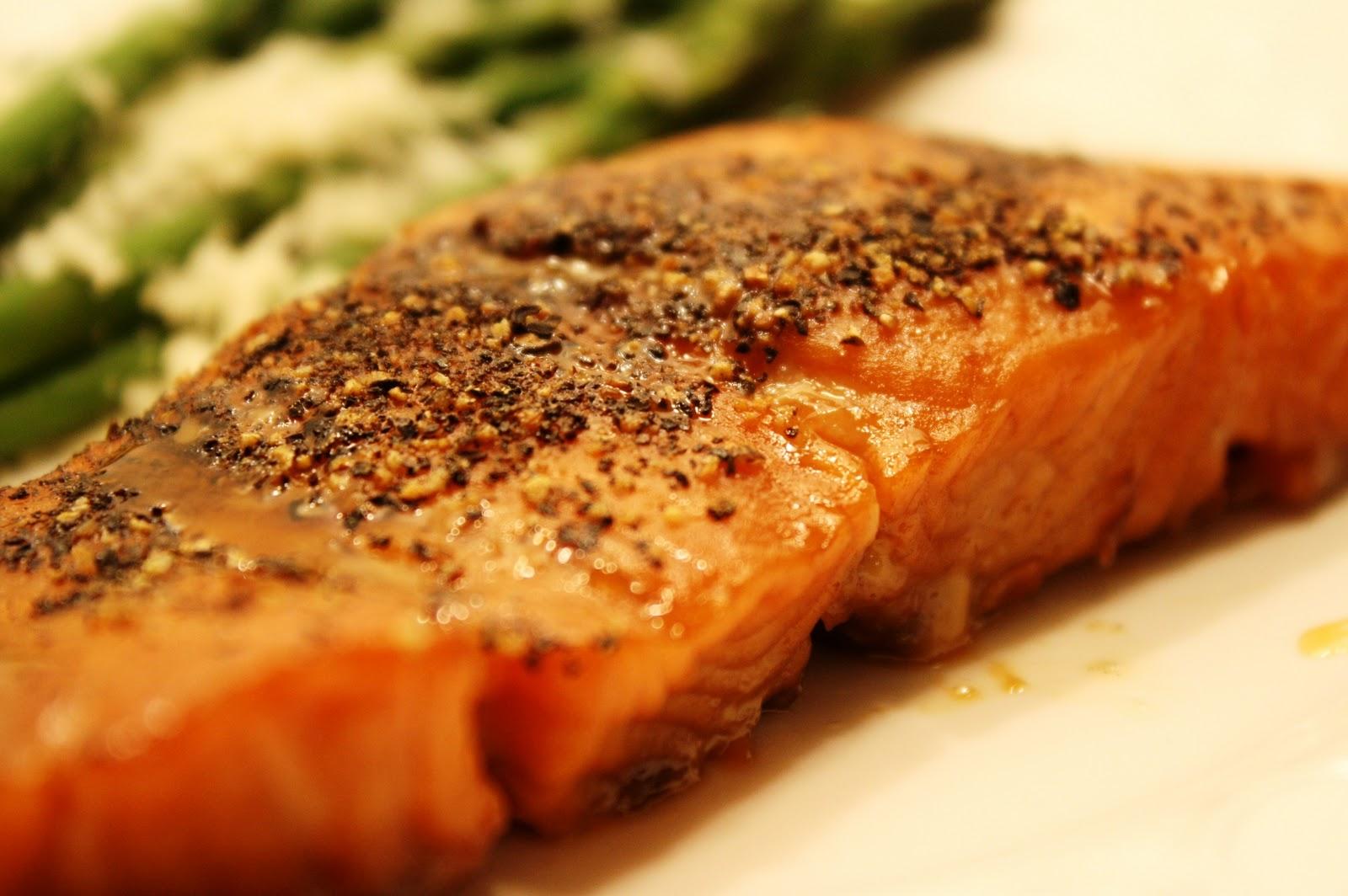 Pepper-Crusted Maple-Glazed Salmon - Saving Room for Dessert