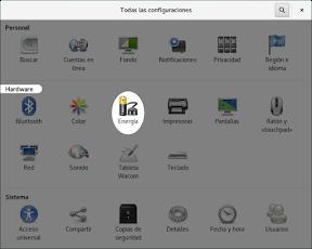 Configurar el hardware en GNOME. Energía.