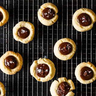 Almond Thumbprint Cookies with Dark Chocolate and Sea Salt.