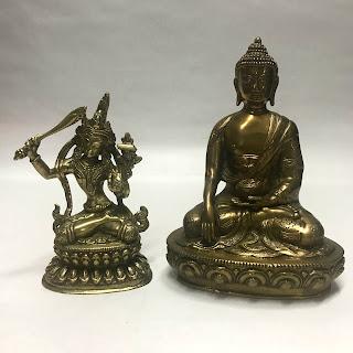 Brass Buddha and Bodhisattva Statue Pair