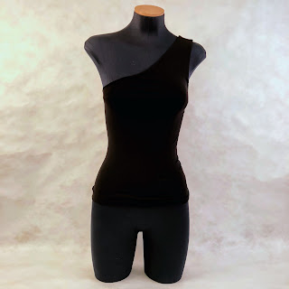 Theory NEW One Shoulder Black Stretch Top