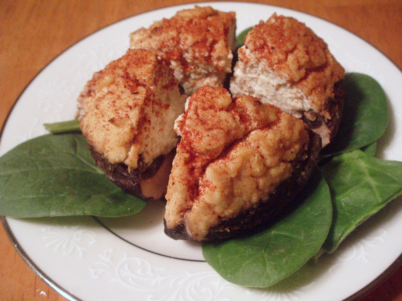 portabella mushrooms stuffed with tofu ricotta title=