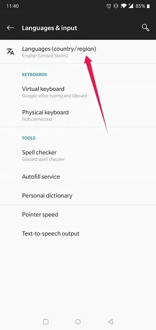 كيفية ترجمة مواقع الويب على Chrome حدد منطقة بلد لغات جديدة