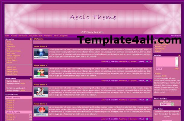 Free Pink Violet Purple Php-fusion Theme Template