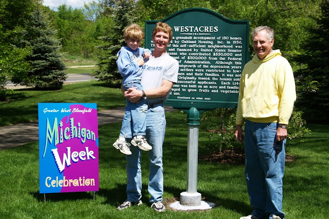 GWBHS repaired the stand of Westacres Historical Marker at  Westacres West Bloomfield Library. Re-dedication May 2006.