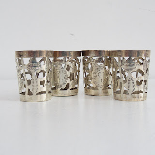 Sterling Silver Shot Glass Zarf Set