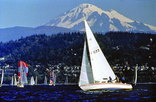 Many sailboats can be seen, especially on sunny days, in Bellingham Bay.Credit: Jon Brunk