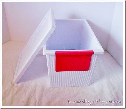 A cute storage container.  Perfect for crafts and doll stuff.