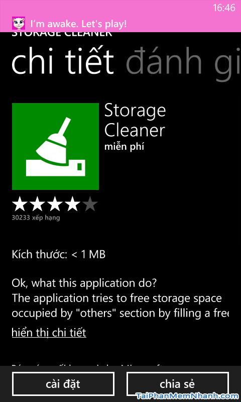 Cài đặt Storage Cleaner
