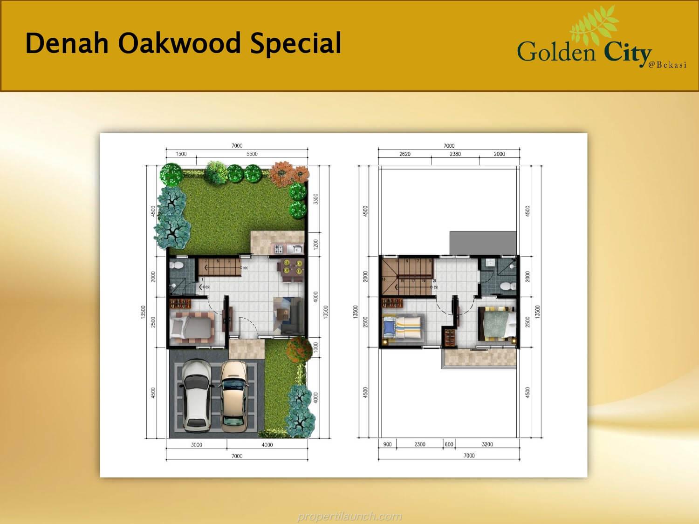 Denah Rumah Cluster Greenwood Golden City Bekasi Tipe Oakwood Special