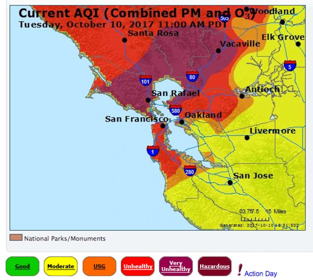 Air quality around the San Francisco Bay Area on 10 October 2017. Graphic: AirNow / EPA / Bay Area Air Quality Management District