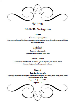 Hillside AM Challenge 2015 Menu