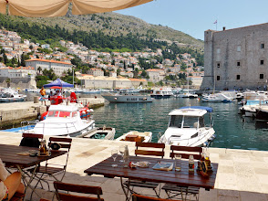 Photo: The harborside restaurant just outside the Dubrovnik city walls.