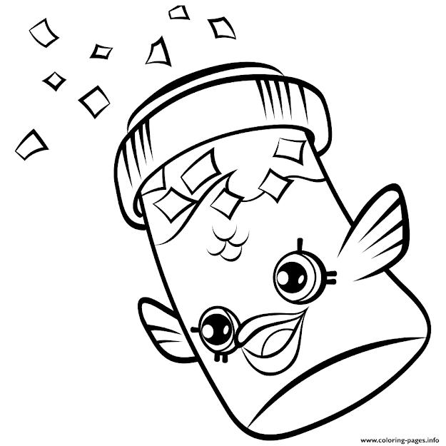 Print Fish Flake Jake Petkins Petkins Shopkins Coloring Pages