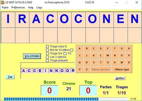 francophone tirage lettres