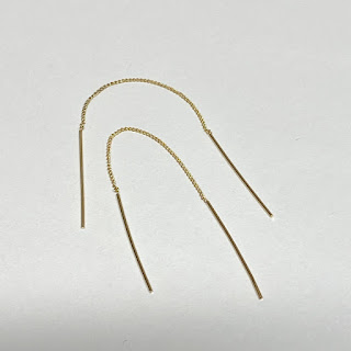 14K Yellow Gold Stick Threader Drop Earrings