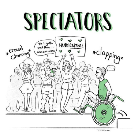 "illustration of people cheering on a person in a wheelchair, holding patronising signs saying ""handicapable"". The heading is ""Spectators""."