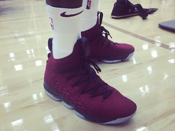 King James Unveils New Nike LeBron 15 Wine Colorway in Practice