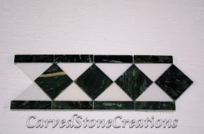 Border, Flooring, Flooring & Mosaics, Green, Interior, Listello, Marble, Mosaic, Natural, Polished, Stone, White