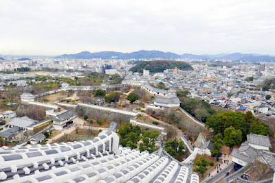 View from Himeji Castle in Japan of the rest of the keep