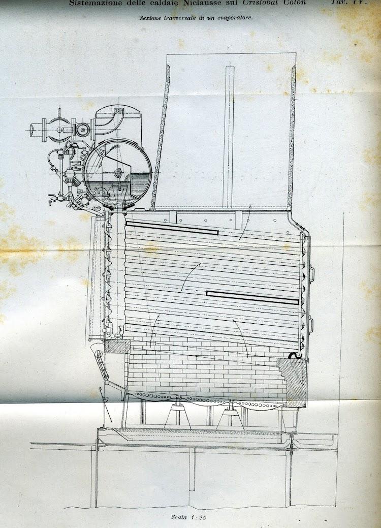 Seccion transversal de un evaporador. De la Rivista Marittima. Año 1897.jpg